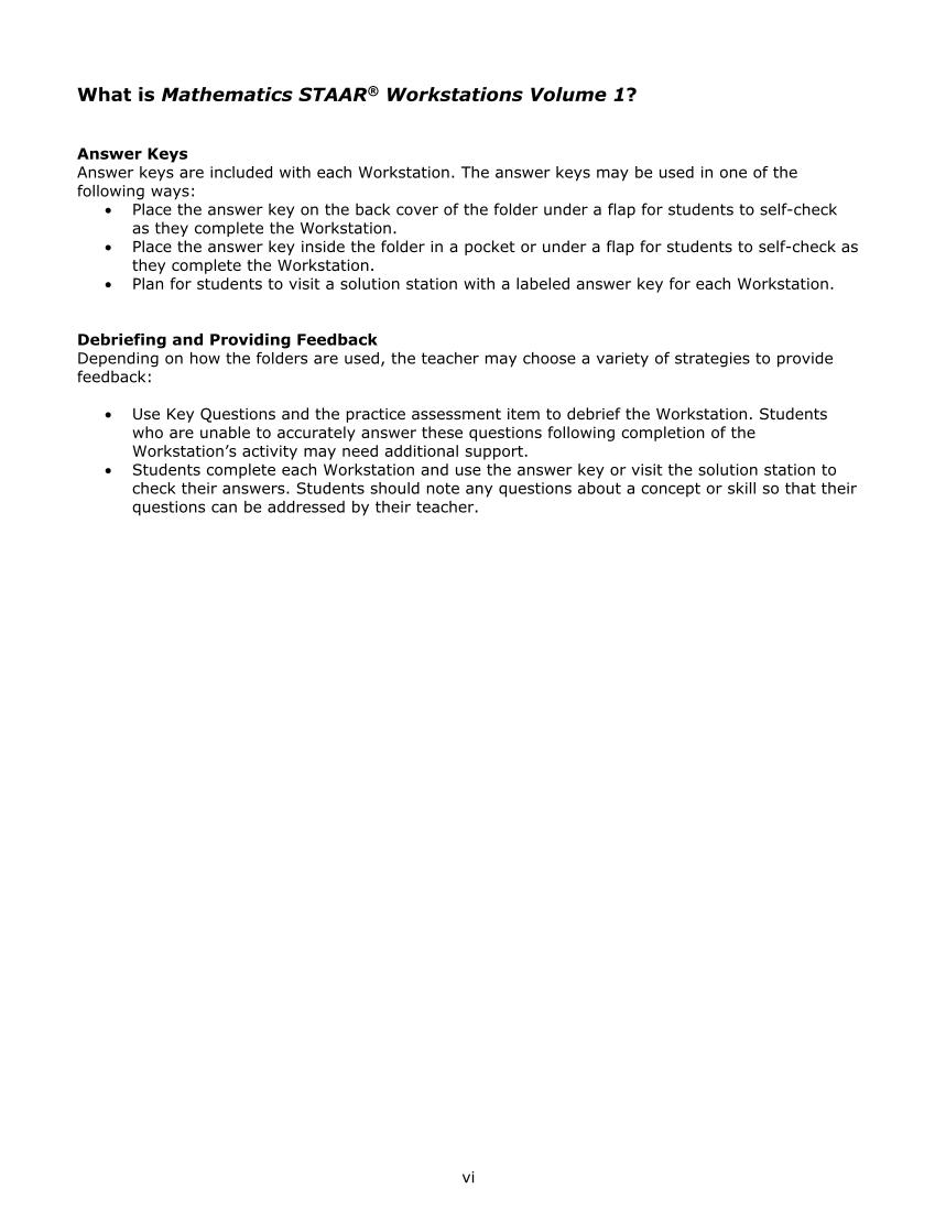 Mathematics STAAR® Workstations Volume 1, Grade 8 page vi
