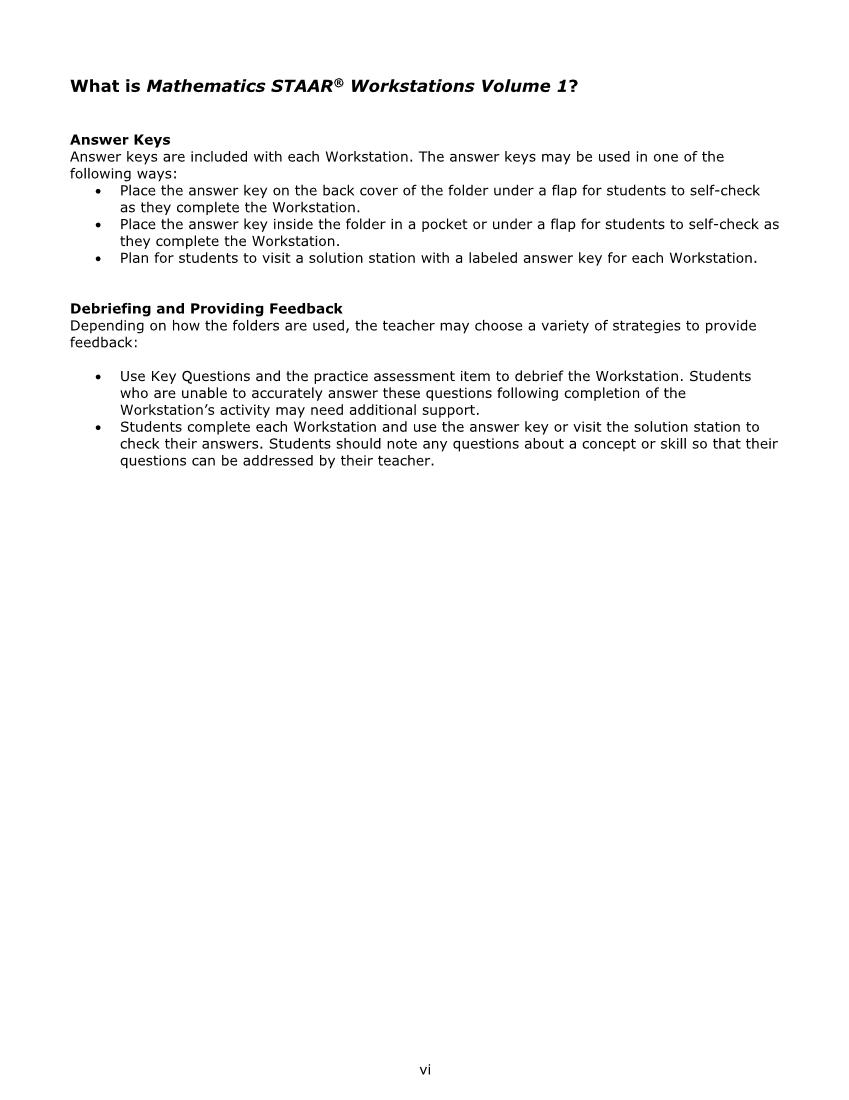 Mathematics STAAR® Workstations Volume 1, Algebra 1 page vi